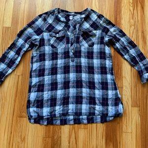Women's Gap Flannel Long Sleeve Tunic Shirt